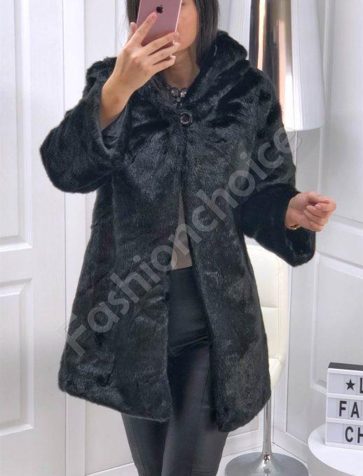 Черно елегантно палто тип пелерина от еко косъм-Код 646