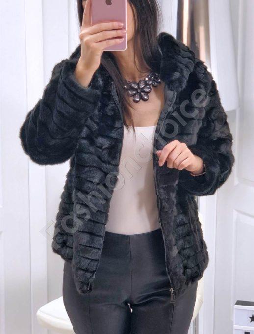 Разкошно късо палто от еко косъм в черно-Код 16007