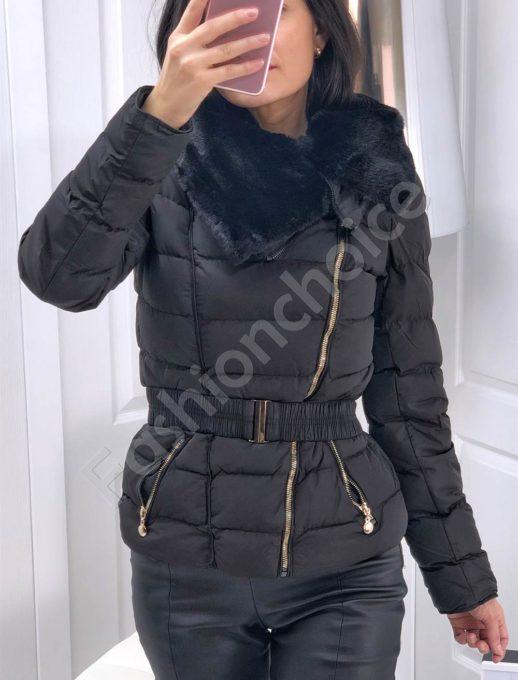 Дамско яке с пухена яка в черно-Код 143