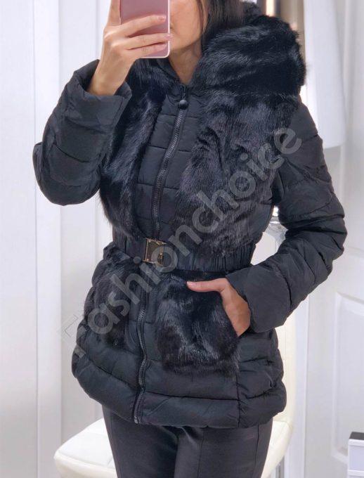 Ефектно зимно яке с пух в черно-Код 81116
