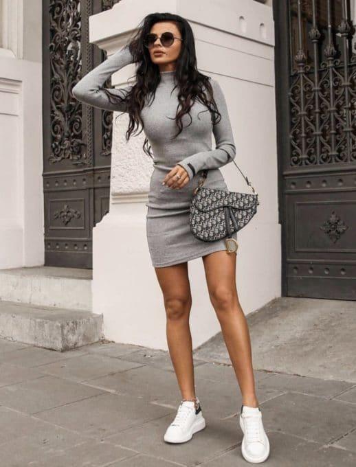 Дамска рокля полуполо с дълъг ръкав- сиво Код 1327