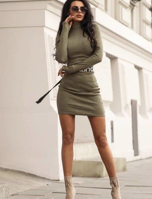 Дамска рокля полуполо с дълъг ръкав- цвят каки Код 1327-2