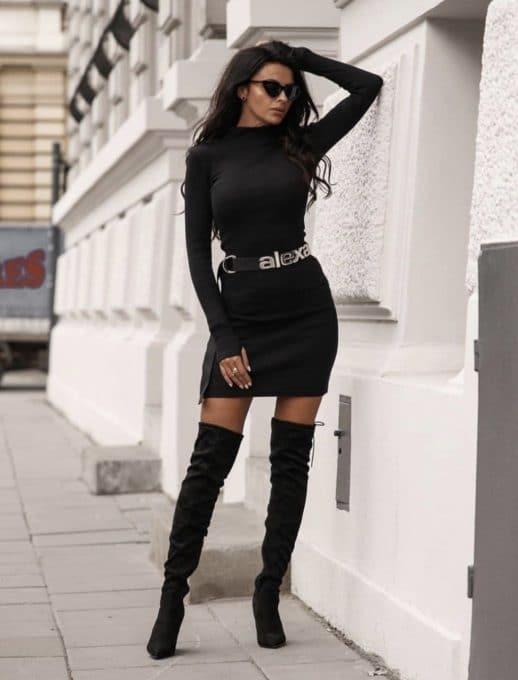 Дамска рокля полуполо с дълъг ръкав- черно Код 1327-1