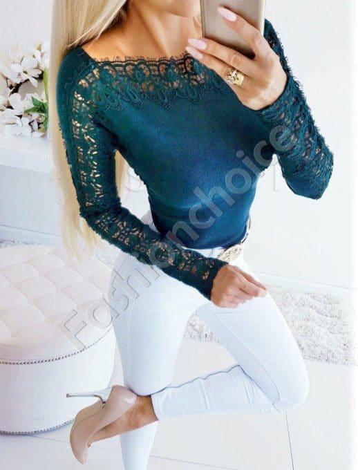 Дамска блуза с лодка деколте и дантела в цвят петрол