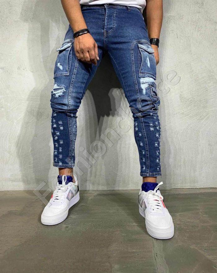Мъжки накъсани дънки с джобове на крачолите-код 2883
