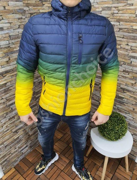 Мъжко яке с качулка в преливащ десен в синьо-жълто