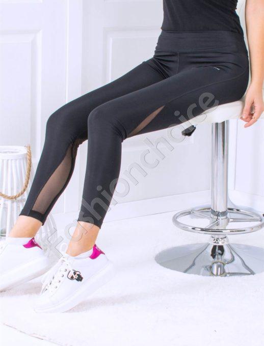 Спортно-елегантен плътен дамски клин в черно