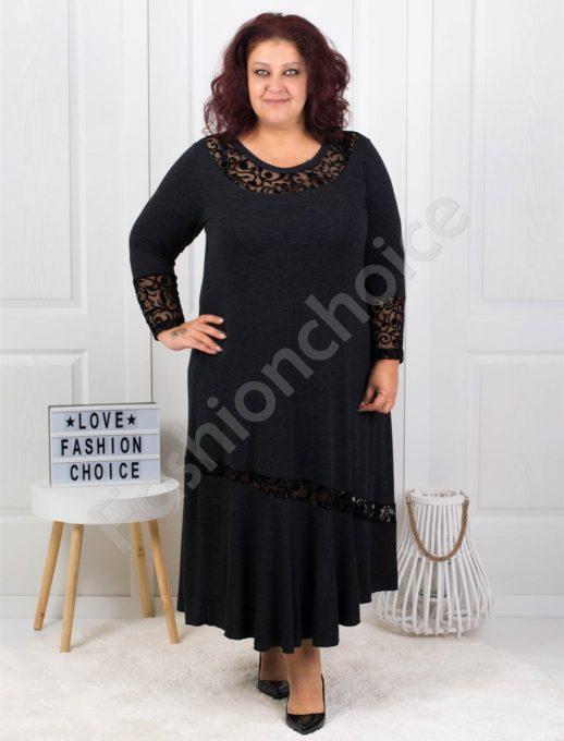 Плътна макси рокля с чудесни акценти в черно