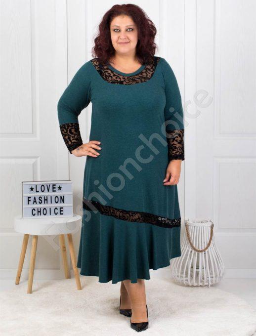 Плътна макси рокля с чудесни акценти в синьо-зелено