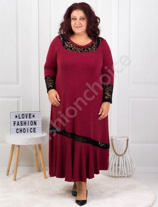 Плътна макси рокля с чудесни акценти в бордо