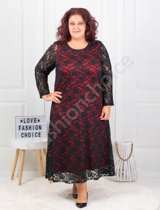 Изискана макси дантелена рокля в черно с червено-код 450
