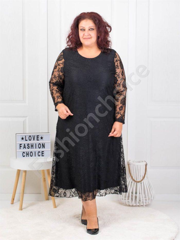 Изискана макси дантелена рокля в черно-код 450-3
