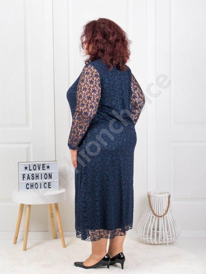 Изискана макси дантелена рокля в тъмносиньо-код 450-1