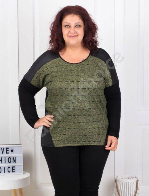 Дамска макси блузка с платка в цвят каки-код 3017