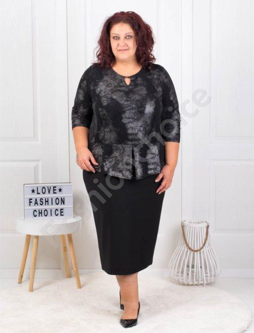 Официална макси рокля в черен преливащ десен-код 794