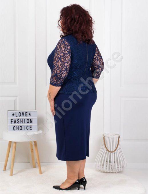 Официална макси рокля от брюкселска дантела в синьо-код 794-1