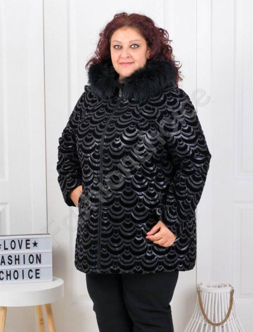 Плътно макси яке в черно с естествен пух на качулката-код 61510