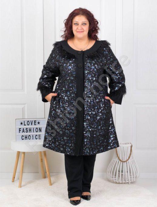 Луксозно плътно макси палто с пайети в черно-код 3638-1