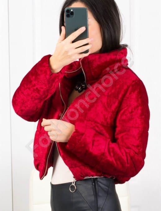 Кокетно плътно дамско якенце в бордо-Код 1368-1