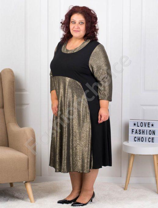 Официална макси рокля със златисти елементи-код 5041