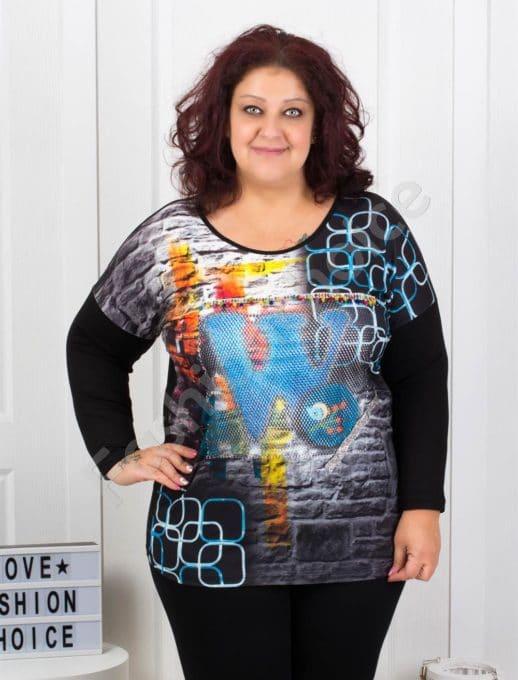 Красива дамска макси блузка с 3D ефект-код 7525