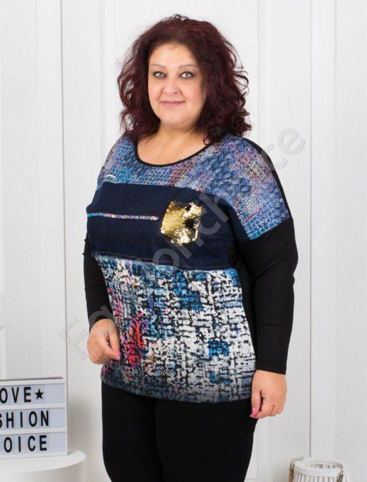 Дамска макси блузка с дънкова платка-код 7526