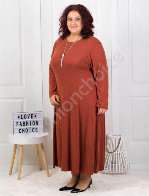 Плътна дамска макси рокля в цвят керемида+подарък бижу-6085-37