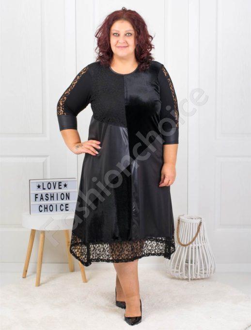 Шикозна макси рокля с дантела и плюш-код 885