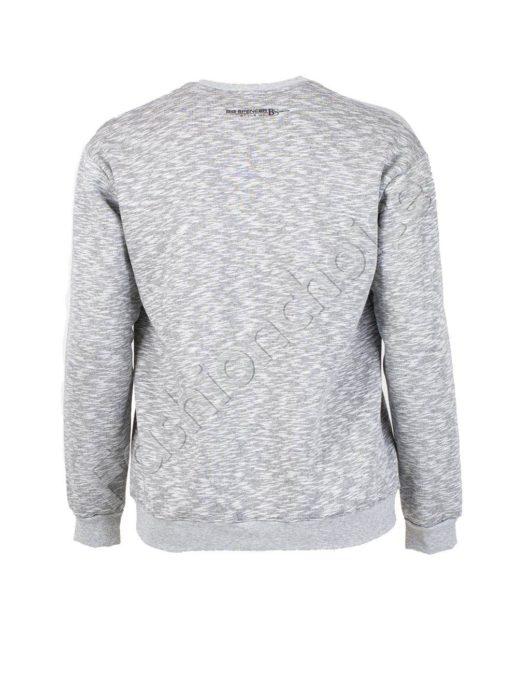 Ватирана мъжка макси блуза в светло сиво-код 6290-1