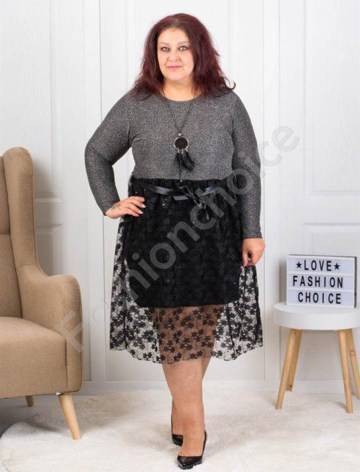 Празнична макси рокля с дантела в сребристо-код 7699