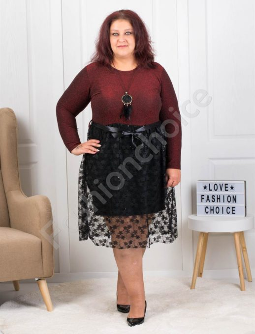 Празнична макси рокля с дантела в бордо-код 7699-1