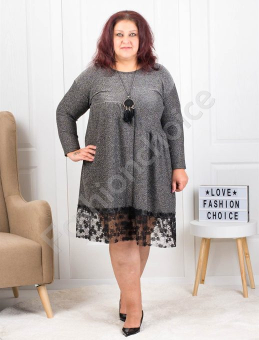 Празнична макси рокля в сребристо с подарък бижу-код 7201