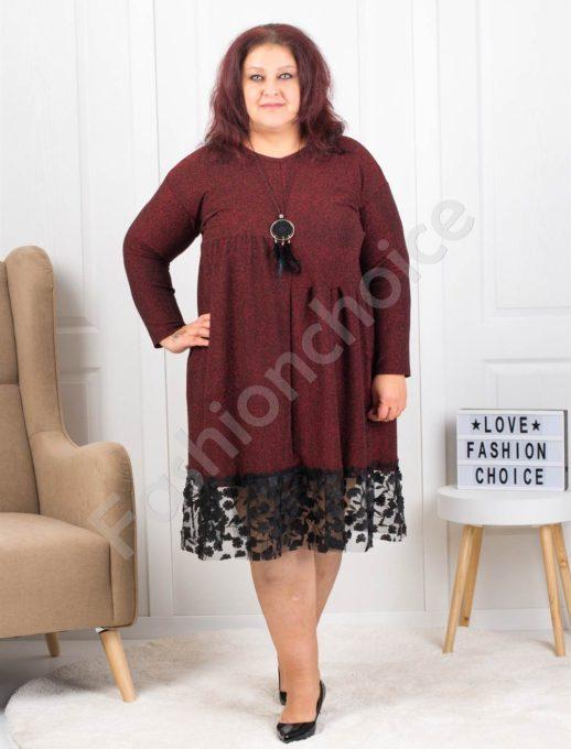 Празнична макси рокля в бордо с подарък бижу-код 7201-1