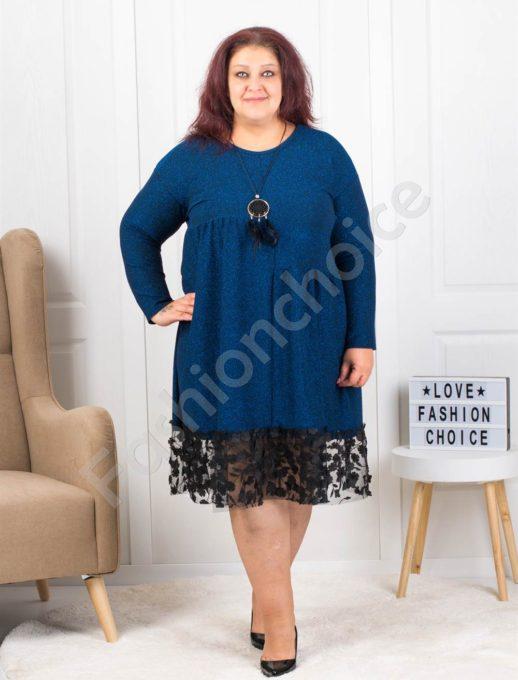 Празнична макси рокля в цвят петрол с подарък бижу-код 7201-2