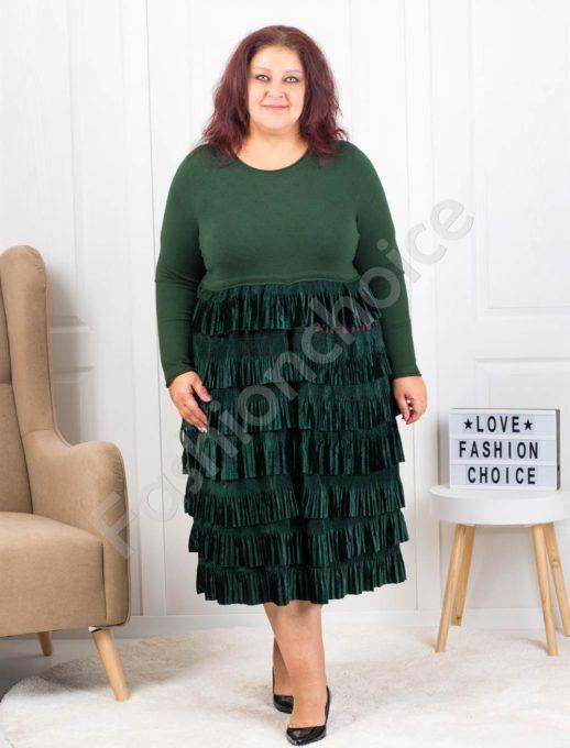 Плетена макси рокля съчетана с плюш в маслено зелено-код 302