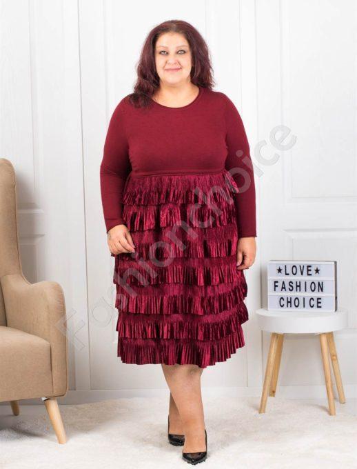 Плетена макси рокля съчетана с плюш в бордо-код 302-1