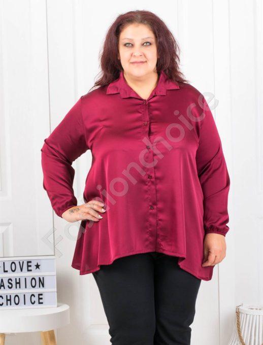 Официална макси сатенена риза в бордо-Код 9527-1