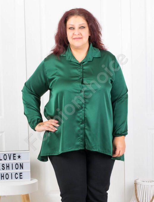 Официална макси сатенена риза в маслено зелено-Код 9527-2