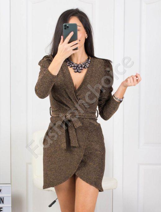 Парти рокля в златисто с блестящо ламе Код 21080-2