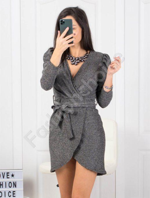 Парти рокля в сребристо с блестящо ламе Код 21080-1