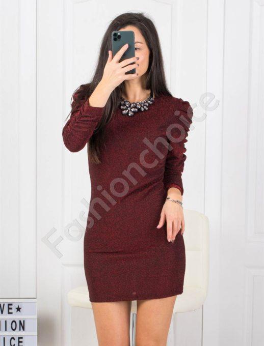 Рокля по тялото в бордо с буфан ръкави Код 21078-1