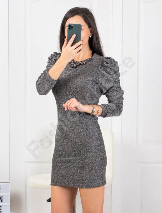 Сребърна рокля по тялото с буфан ръкави Код 21078