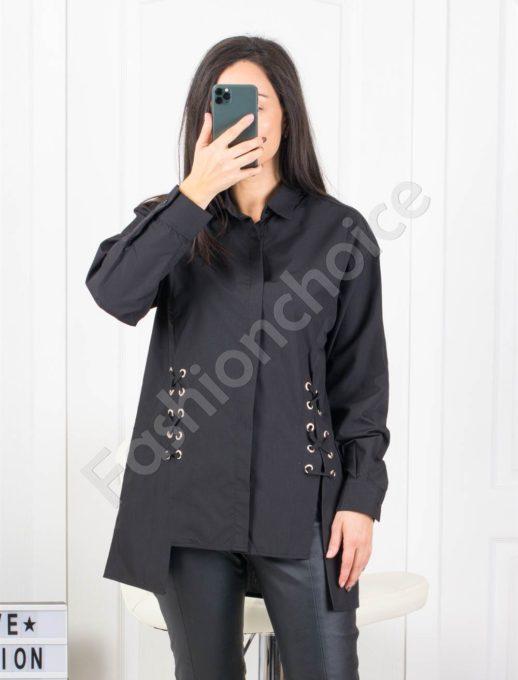 Екстравагантна дамска риза в черен цвят Код 953-2101-1