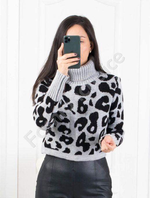 Дамски пуловер с модерна кройка в сиво и черно Код 259-5