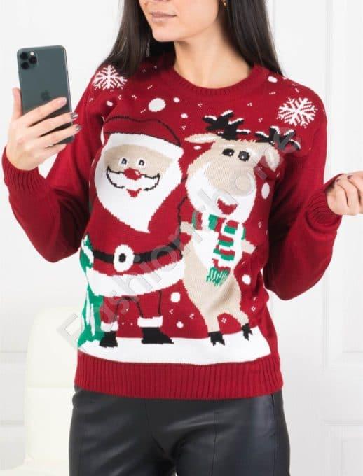 Топло коледно пуловерче в червено-код 466-1