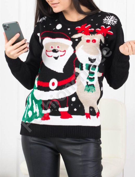 Топло коледно пуловерче в черно-код 466