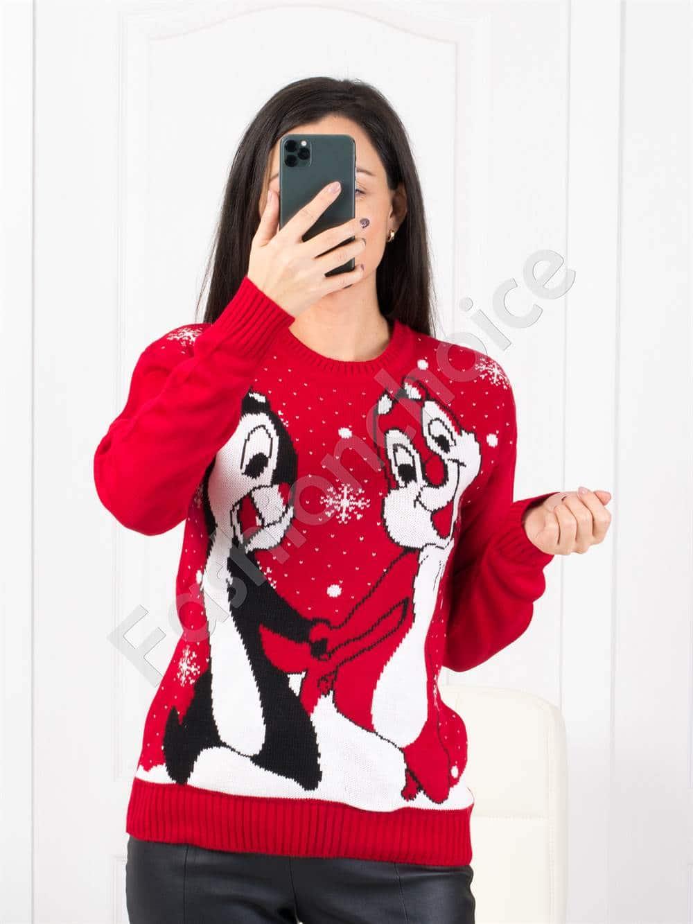 Свежо коледно пуловерче в червено Код 461-1