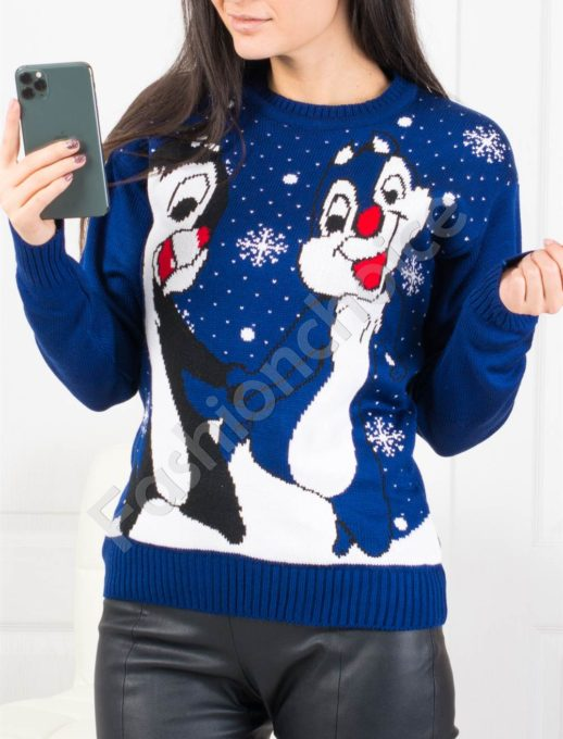 Свежо коледно пуловерче в синьо Код 461-2