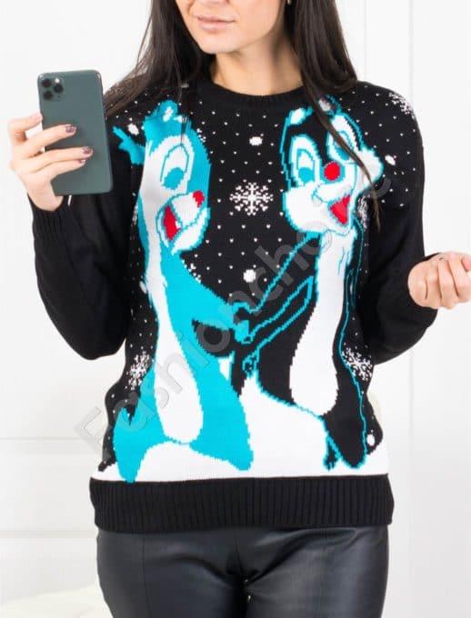 Свежо коледно пуловерче в черно Код 461