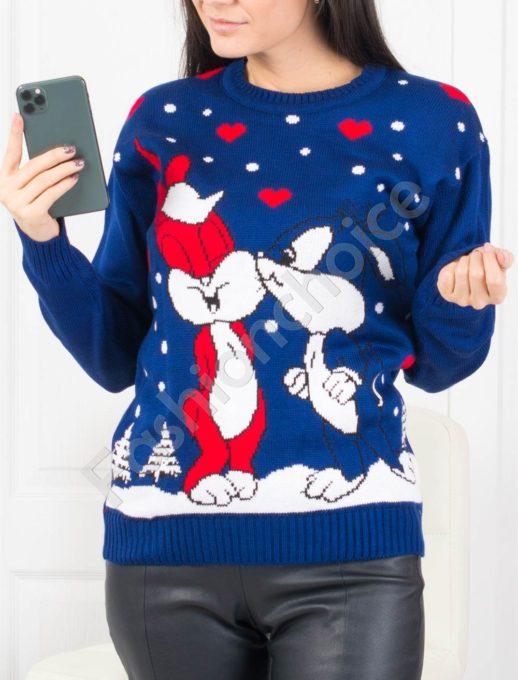 Красиво плетено коледно пуловерче в синьо Код 459-2